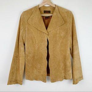 Danier Tan Suede Leather Jacket XS Blazer Western